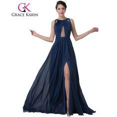 Grace Karin Navy Blue Evening Dress Women Fashion Backless Split Special Long Evening Gown Elegant Special Occasion Dress 2017