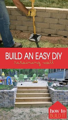 Build an EASY DIY Retaining Wall Building a retaining wall is hard but my retaining wall ideas and tutorial for a DIY retaining wall project will make it much easier! The post Build an EASY DIY Retaining Wall appeared first on Outdoor Ideas. Cheap Retaining Wall, Backyard Retaining Walls, Rock Retaining Wall, Building A Retaining Wall, Concrete Backyard, Inexpensive Retaining Wall Ideas, Diy Wand, Backyard Projects, Outdoor Projects