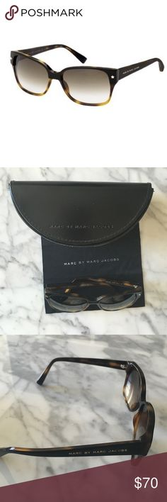 Marc by Marc Jacobs Women's Square Catseye Star Marc by Marc Jacobs women's square catseye star sunglasses. Tortoise shell and black. Lightly tinted for medium to bright light conditions. Gold star detailing. Two noticeable scratches on right lens and and one on left lens. Original case and microfiber cloth included. These sunnies still have love left to give. Marc by Marc Jacobs Accessories Glasses