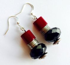 Free Shipping  Gorgeous Red and Black Earring by Theshobs on Etsy Black Earrings, Beautiful Earrings, Free Shipping, Personalized Items, Red, Etsy, Black Stud Earrings