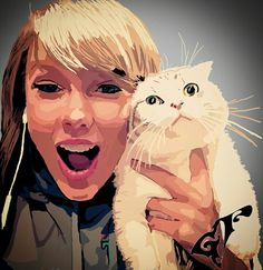 """First kitty I draw (^_^) I love this picture because Taylor Swift is so funny with her cat :p  You can always help me, link in bio (and not """"link in park"""" lol...) #taylorswift #cat #drawing @taylorswift"""