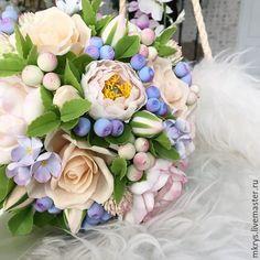Купить Букет невесты - белый, розы ручной работы, розы из полимерной глины, полимерная глина