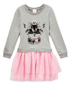 Look what I found on #zulily! Gray & Pink Cat Drop-Waist Dress - Toddler & Girls by Nannette #zulilyfinds