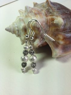 ELEGANT SILVER BEADED~Dangle Earrings~Placed On A Silver Plated Setting. by Brucesjewelry on Etsy