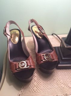 fcc05491ed1d Michael Kors BROWN Leather Studded Wedge Slingback Open Toe Heels 6.5 M   fashion  clothing