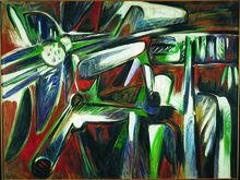 """Oswaldo Vigas - Venezuela. """"Ave y personagreste II""""  (1977). Óleo / Tela - 150x200 cm."""