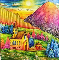 Hillside church makes for a scenic picture in RC:1 #romanticcountrycoloringbook #eriy #romanticcountry #inktense #ロマンティックカントリー #大人の塗り絵 #derwentinktense