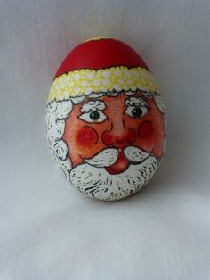 santa egg. Front view.  Black lines are drawn on after wax has been removed.
