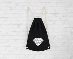 Diamond print drawstring bag