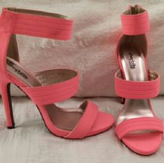 Brand new 3 strap salmon pink heels. These never been worn vibrant pink-Orange heels go great with any skin tone and every occasion. These shoes will keep you comfortable and stylish for anywhere you want to go. Charlotte Russe Shoes Heels