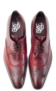 Ferro Italian Leather Red Men's Brogue Shoes at Zaffaella Shoes. Well constructed leather shoes with classic brogue detailing and a modern touch. Hand crafted in Italy.