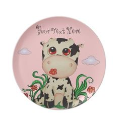 Baby Cow Customizable Plate by SimonaMereuArt $26.45