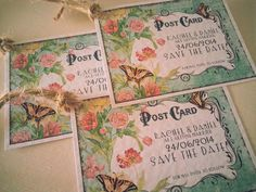 PERSONALISED MINI VINTAGE POSTCARD WEDDING SAVE THE DATE CARDS/LUGGAGE TAGS | eBay