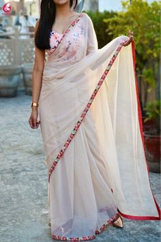 Buy Cream Net Embroidered Saree - Women Sarees Online in India Saree Wearing Styles, Saree Styles, Online Shopping Sarees, Sarees Online, Designer Sarees Wedding, Modern Saree, Stylish Dresses For Girls, Saree Trends, Indian Bridal Fashion