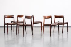 Rosewood and Leather Niels Møller Model #77 Dining Chairs, Set of 6