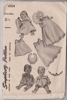 1950s Baby Layette Pattern Simplicity 4904 with Transfers by SuesUpcyclednVintage on Etsy