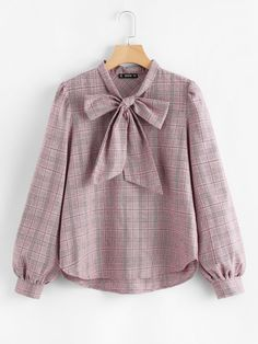 To find out about the Bow Tie Neck Glen Plaid Blouse at SHEIN, part of our latest Blouses ready to shop online today! Muslim Fashion, Hijab Fashion, Korean Fashion, Fashion Outfits, Cute Fashion, Trendy Fashion, Sleeves Designs For Dresses, Hijab Style, Looks Plus Size