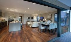 I just viewed this amazing Bermuda 23 Dining style on Porter Davis – World of Style. How about picking your style? Home, House Rooms, Open Plan Kitchen Diner, Open Plan Kitchen Dining, House Design, New Home Designs, Open Plan Kitchen Dining Living, Kitchen Living, House Interior