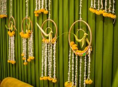 Leaf bird hangings for backdrop by the Doli diary-Mumbai. Arch Decoration, Marriage Decoration, Entrance Decor, Backdrop Decorations, Backdrops, Diwali Decorations, Desi Wedding Decor, Indian Wedding Decorations, Indian Wedding Stage