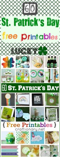 60 St Patricks Day Free Printables for Irish Holiday - Craftionary St Paddys Day, St Patricks Day, Spring Activities, Luck Of The Irish, Free Prints, Free Printables, Easter, Rainbow, Holiday