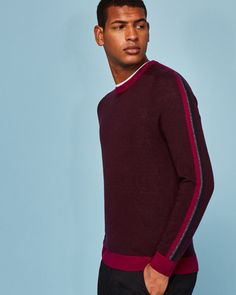 Colour-block wool-blend jumper - Dark Red | Knitwear | Ted Baker SEU Ted Baker, Men's Waistcoat, Casual Trends, Casual Wear For Men, Knit Shirt, Men Looks, Winter Wear, Thing 1, Pulls