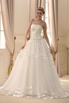 Dresswe.com SUPPLIES Fantastic Strapless A-line Floor-Length Chapel Appliques Wedding Dress Plus Size Wedding Dresses
