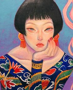 Potrait Drawing Glittery hair Oriental Pin Up Girl by Zipcy - Kunst Inspo, Art Inspo, Art And Illustration, Girl Illustrations, Portrait Illustration, Character Illustration, Anime Kunst, Anime Art, Pretty Art