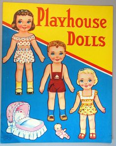 Publisher: Stephens Publishing Co. Date: Charming children with dolls and their toys on the front and back covers to be cut out. Number of Dolls: 7 2 dolls. Barbie Paper Dolls, Paper Dolls Book, Vintage Paper Dolls, Paper Toys, Vintage Barbie, Paper Crafts, Dolly Doll, Paper Dolls Printable, American Doll Clothes