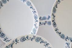 5 Vintage Noritake China Progression STEPHANIE 9027 Dinner Plates White Blue  #Noritake