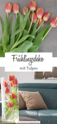 Tulpen schön dekorieren – Blumen etwas anders in die Vase stecken #Tulpen #Tulpendekorieren #Frühling #Frühlingsdeko Diy Upcycling, Upcycle, Decoration, Recycling, Most Beautiful Pictures, Earthy, Tulips, Repurposed, Centerpieces