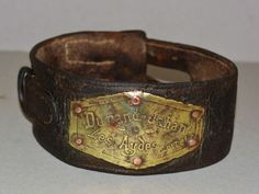 "Antique French 19C Dog Collar ~ ""Durand-Jahan-Les Aydes Loiret"" from antiquepooch on Ruby Lane"