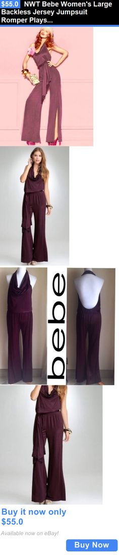 Jumpsuits And Rompers: Nwt Bebe Womens Large Backless Jersey Jumpsuit Romper Playsuit Aubergine Purple BUY IT NOW ONLY: $55.0