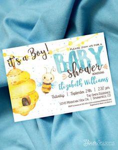 Buy Now Bee Baby Shower Invitation Boy Honey Bee printable...