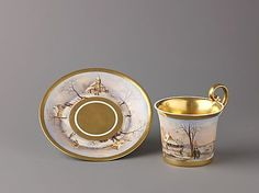 "met-robert-lehman: ""Cup and saucer with painted winter scenes, Robert Lehman Collection Robert Lehman Collection, 1975 Metropolitan Museum of Art, New York, NY Medium: Hard-paste. Cup And Saucer Set, Tea Cup Saucer, Coffee Cups, Tea Cups, Coffee Time, Mocca, Chocolate Pots, Winter Scenes, China Porcelain"