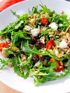 Farro and Arugula Salad - Proud Italian Cook - might need to substitute the Farro, but it looks really tasty.
