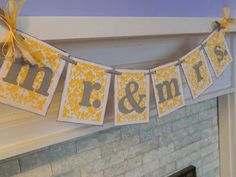 Damask Mr and Mrs Wedding Garland Reception Decorations Photo Prop You Pick the Colors. $20.25, via Etsy.