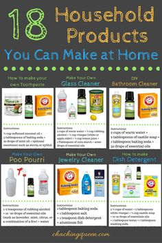 18 DIY Cleaning Products and Homemade Household Items You Can Easily Make at Home - Cleaning Hacks Diy Home Cleaning, Household Cleaning Tips, Homemade Cleaning Products, Deep Cleaning Tips, Toilet Cleaning, House Cleaning Tips, Natural Cleaning Products, Household Products, Household Items
