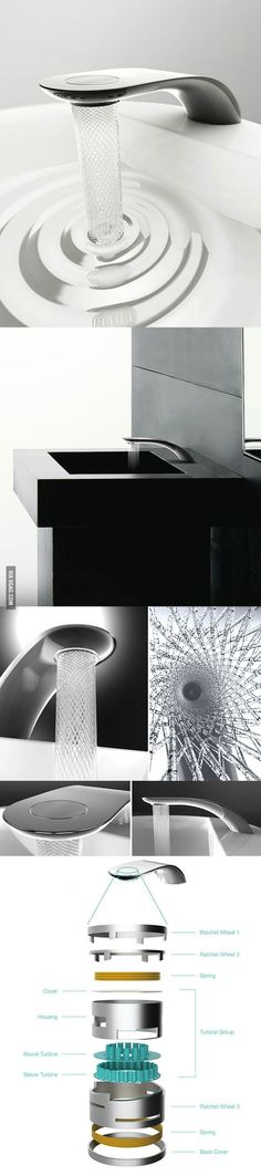 A faucet that creates water patterns to save water - want installed in every sink in the home Bathroom Fixtures, Bathrooms, Bathroom Stuff, Water Patterns, Save Water, Cool Gadgets, Industrial Design, Planer, Creative Design