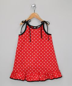 Look at this #zulilyfind! Red & White Polka Dot Ruffle Dress - Infant, Toddler & Girls by De n' L #zulilyfinds