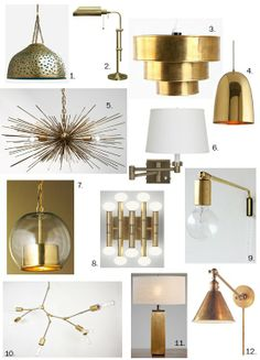 Fabulously Classy: Brass Lighting Roundup, love the golden, brass lights. home decor Interior Lighting, Home Lighting, Chandelier Lighting, Lighting Design, Lighting Ideas, Lighting Universe, Chandeliers, Interior Design Living Room, Lamp Light