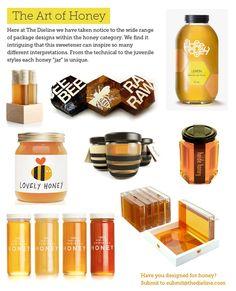 top honey packaging from The Dieline Label Design, Packaging Design, Logo Design, Graphic Design, Honey Logo, Honey Jars, Honey Label, Honey Packaging, Bees Knees