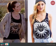 Bay's cropped sun graphic tank top on Switched at Birth.  Outfit Details: http://wornontv.net/43596/ #SwitchedatBirth