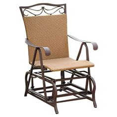 Found it at Wayfair - Valencia Outdoor Wicker Single Glider Chair - need two for the front porch!
