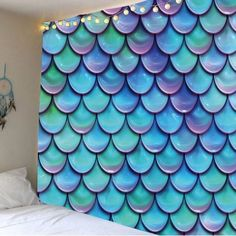 wall Tapestry With Lights - Mermaid Fish Scales Nautical Wall Tapestry Light Blue Inch Inch.