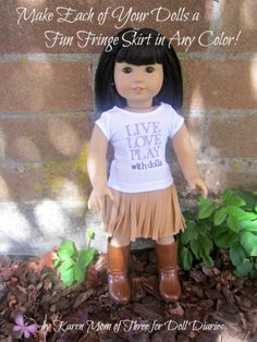 """GREEN Love Shirt Denim Frayed Skirt Doll Clothes For 18/"""" American Girl Debs"""