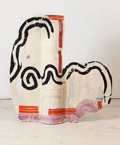 Betty Woodman Grand Gesture, 2011 Glazed earthenware, epoxy resin, lacquer and acrylic paint. 38 x 40 x 8 inches. Ceramic Pottery, Pottery Art, Ceramic Vase, Ceramic Design, Contemporary Ceramics, Ceramic Artists, Abstract Sculpture, Clay Art, Decoration