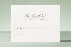 """""""Gracieux"""" - Letterpress Rsvp Cards in Slate by Kimberly Morgan."""