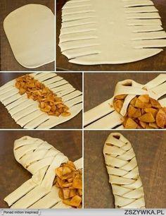 Lekkere appeltaart. Eerst stukjes appel kort aanbakken in de pan, kruiden met kaneel en eventueel wat suiker. Ga te werk zoals op de foto's. Volg de instructies op de verpakking bladerdeeg.