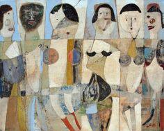 "Scott Bergey: # 1431 ""Six Ladies"",   16 x 20 , mixed media on canvas. November 2011(Sold)"