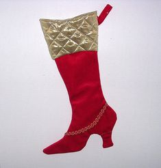 red velour and gold metallic high-heeled Victorian Christmas stocking